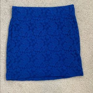 Lacey blue flower pencil skirt